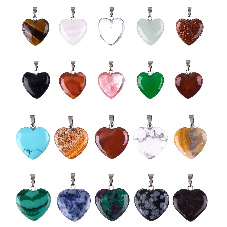 Outus 20 Pieces Heart Shape Stone Pendants Chakra Beads