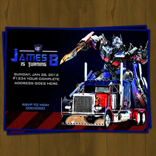 Optimus Prime Transformers Birthday Invitation on Storenvy
