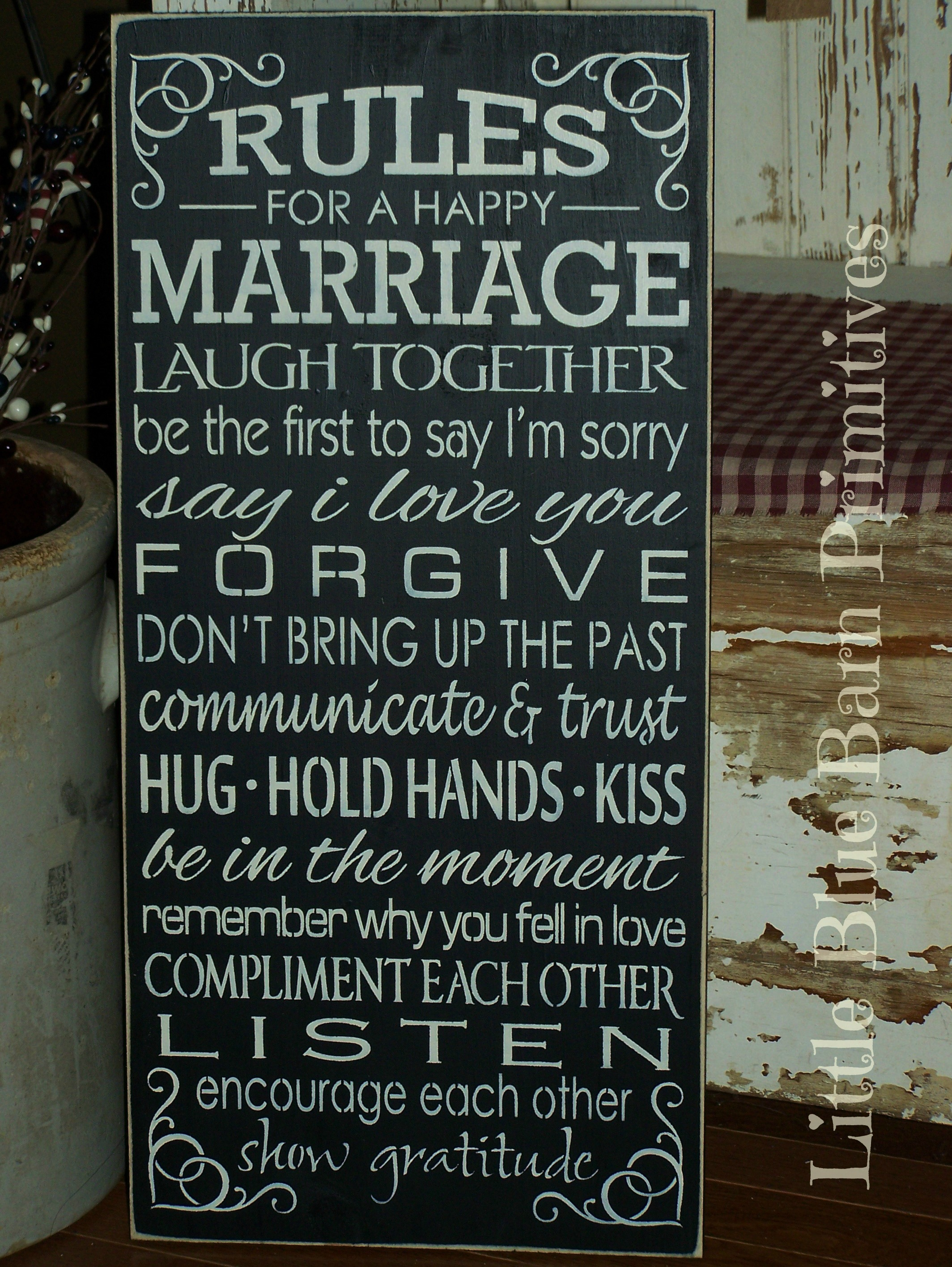 Rules For A Girls Bedroom: Rules For A Happy Marriage Wooden Sign · Little Blue Barn
