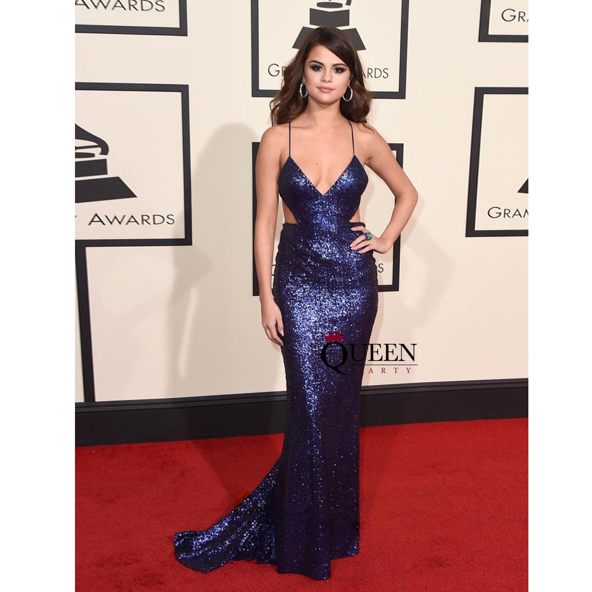 09ffa90b8f11 Long Navy Blue Mermaid Prom Dress With V Neck - raveitsafe