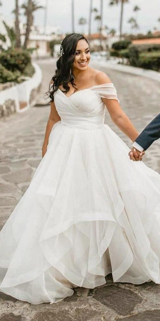 Plus Size Wedding Dress,Plus Size Off Shoulder Sleeve Bridal Dress ...