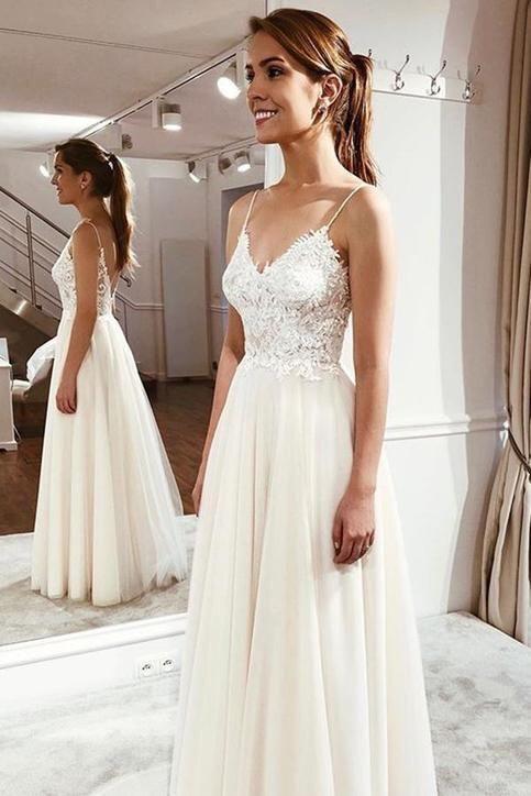 c1598913f5 Simple Spaghetti Straps Wedding Dress,Informal Boho Bridal Dress ...