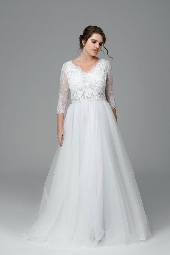 Long Sleeve Lace Wedding Dress,Plus Size Wedding Dress · Sancta ...