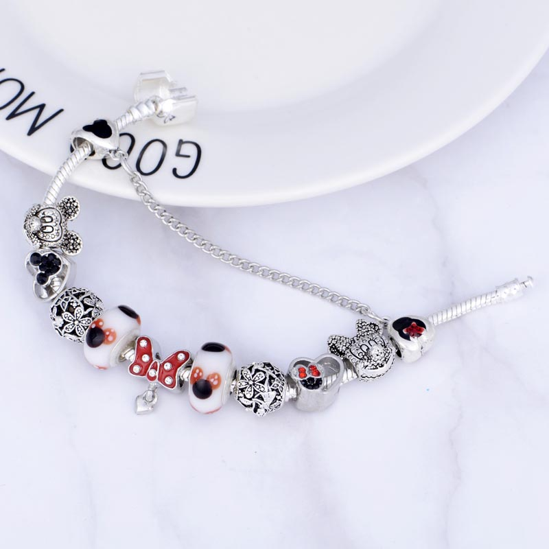 e8dcf69ce79 JUNESNOW Kids Original Marano For Special Mickey Minnie Nice With Bracelet  Pandora Dropshipping Fit Beads Charm Bracelet Gift