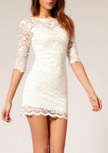 Lace Up Gauze Fashion Short Sleeve Bodycon Tight Mini Dress BADBJ on ... ec3e09b9a