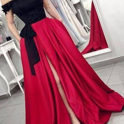 f3eca8ef4034 Red off the shoulder satin black appliques v neck prom dresses with pockets