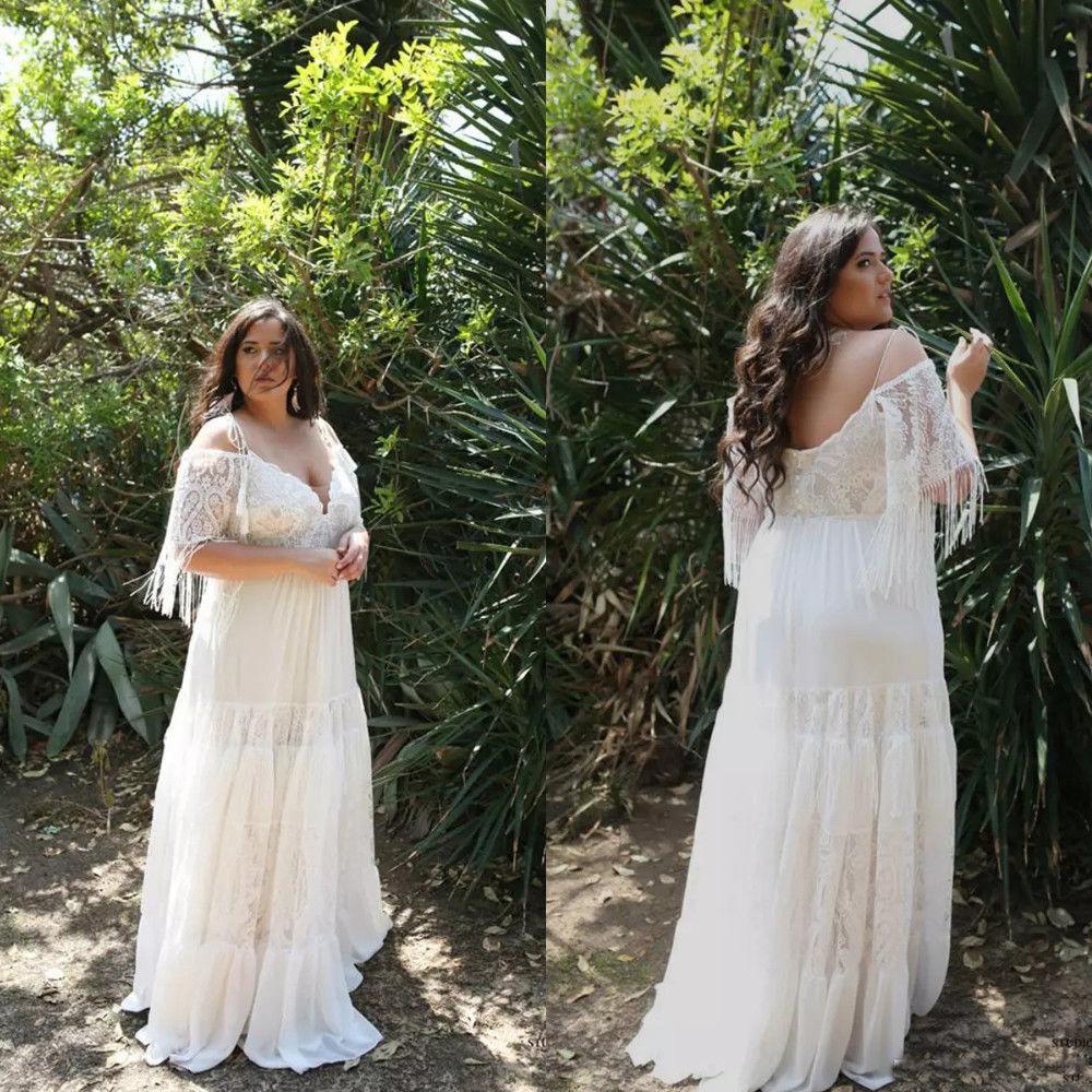 Sale! Boho Bohomeian Off The Shoulder Plus Size Beach Wedding Dress from  Curvy Brides