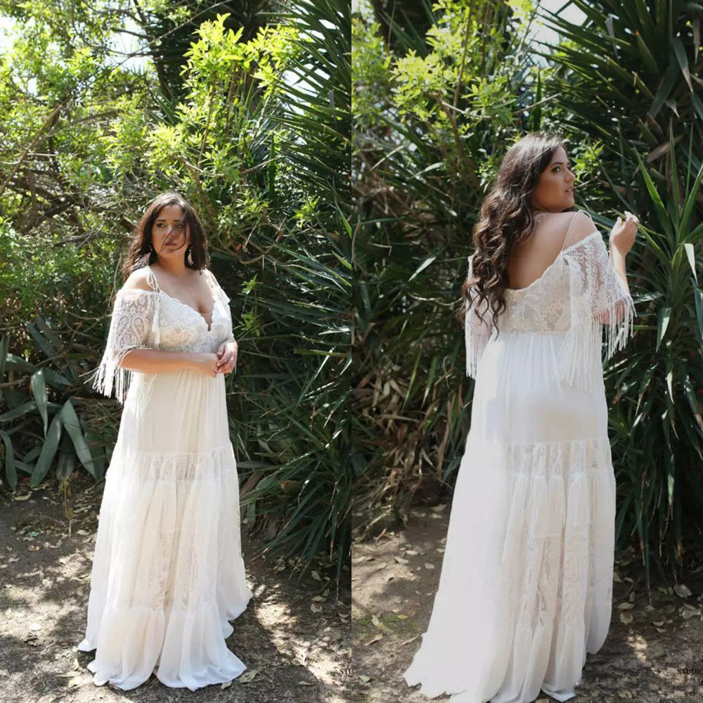 Sale Boho Bohomeian Off The Shoulder Plus Size Beach Wedding Dress From Curvy Brides