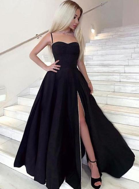 Sweetheart Neck Black Satin Long Side Slit Prom Dress