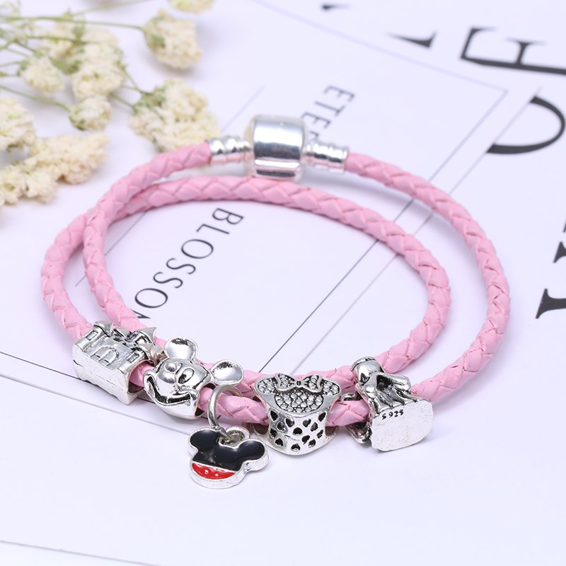 b2a03695331 Pink Silver Gift Mickey Jewelry TOGORY Bracelet Minnie Charm Charm Women  Pandora Magnet for Clasp Leather Bracelet Dropshipping