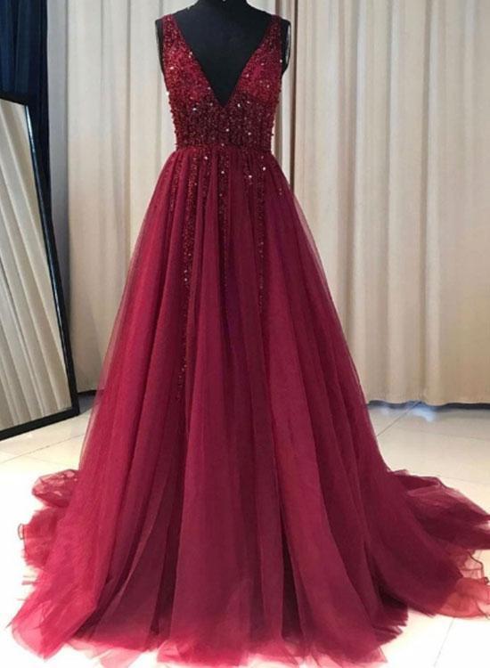 ac137c026c Deep V-neck Sexy A-line Long Prom Dress With Beading Custom-made ...