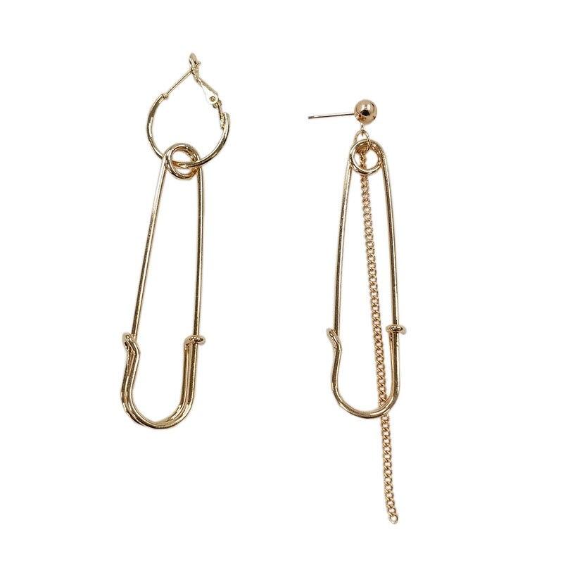 Tassel Asymmetric Irregular Dangle Safety Pin Earrings Chain Ear Stud Jewelry