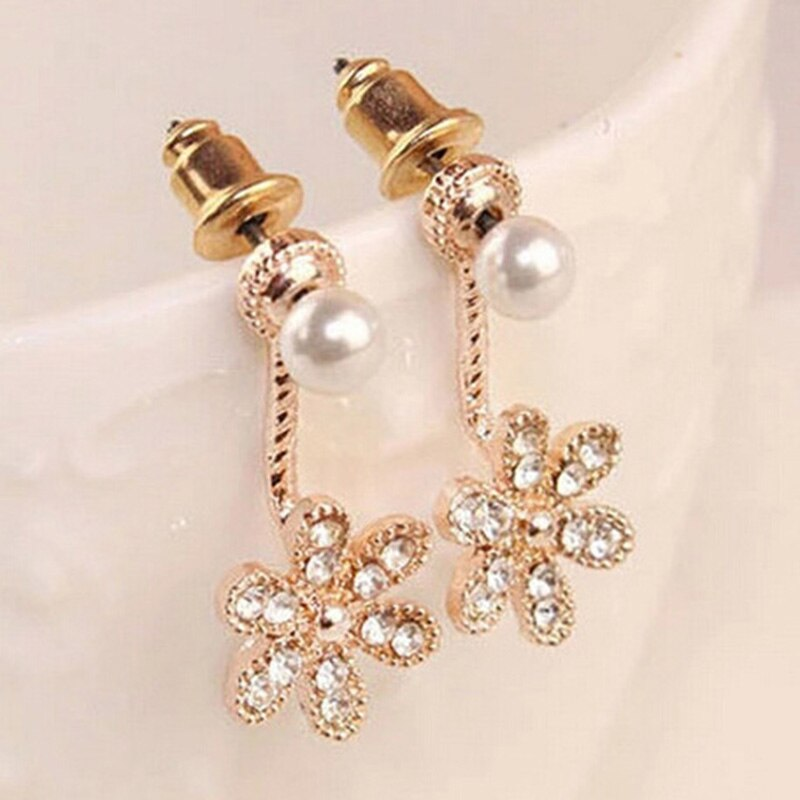 a937320a08 Crystal Women Flowers Daisy Earrings Silver Pearl Trendy Accessories Gold  Stud Color Jewelry