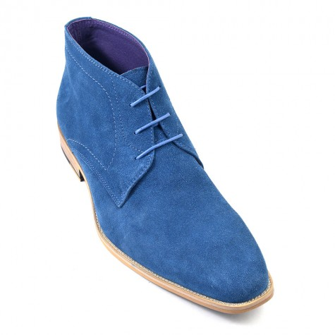 handmade men blue suede casual chukka boots men ankle