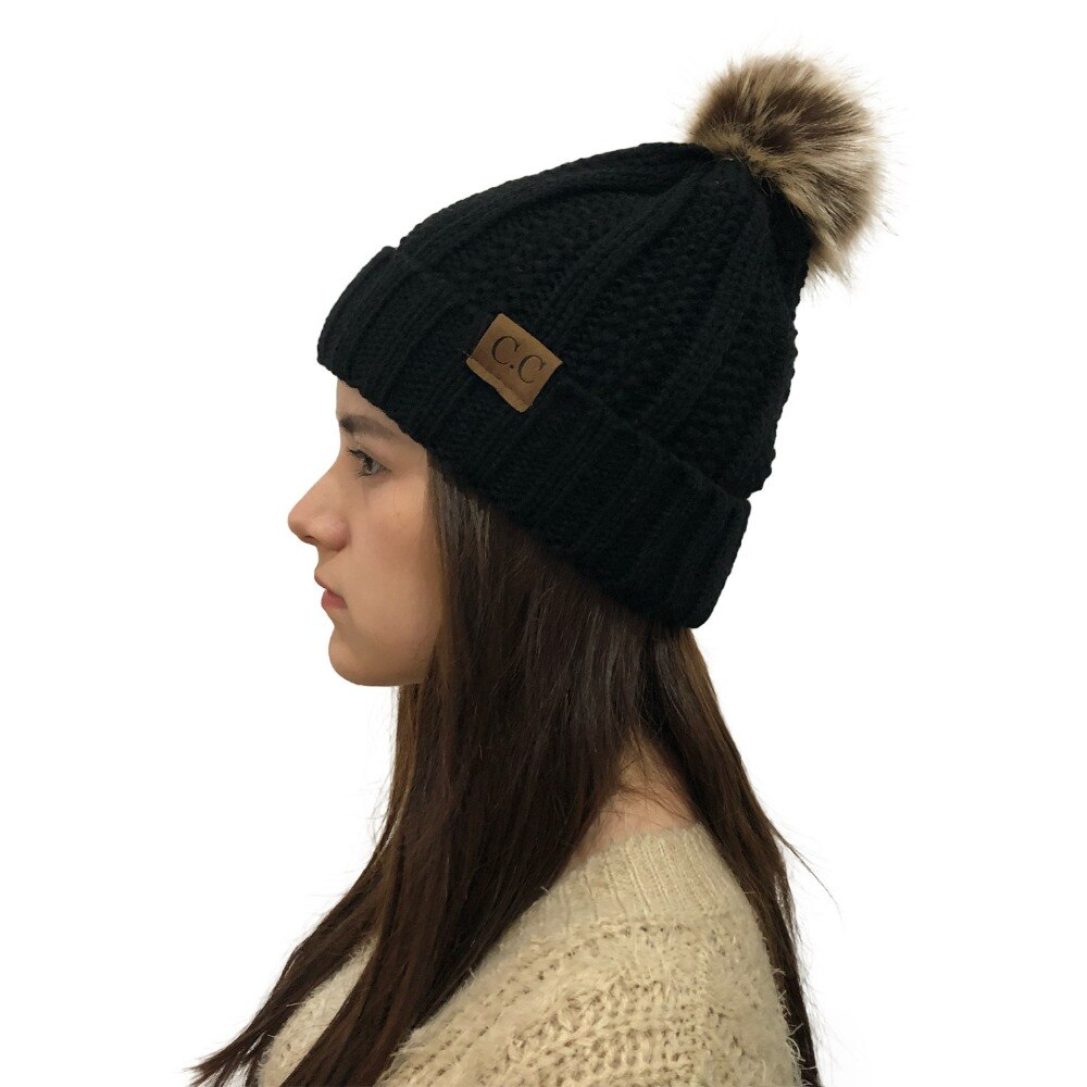 aa48a2359ae Beanie Lady's Winter Faux Caps Cute Casual Knitted Warm Ball Ski Skully Cc  Hats Outdoor Fur Women With Pom