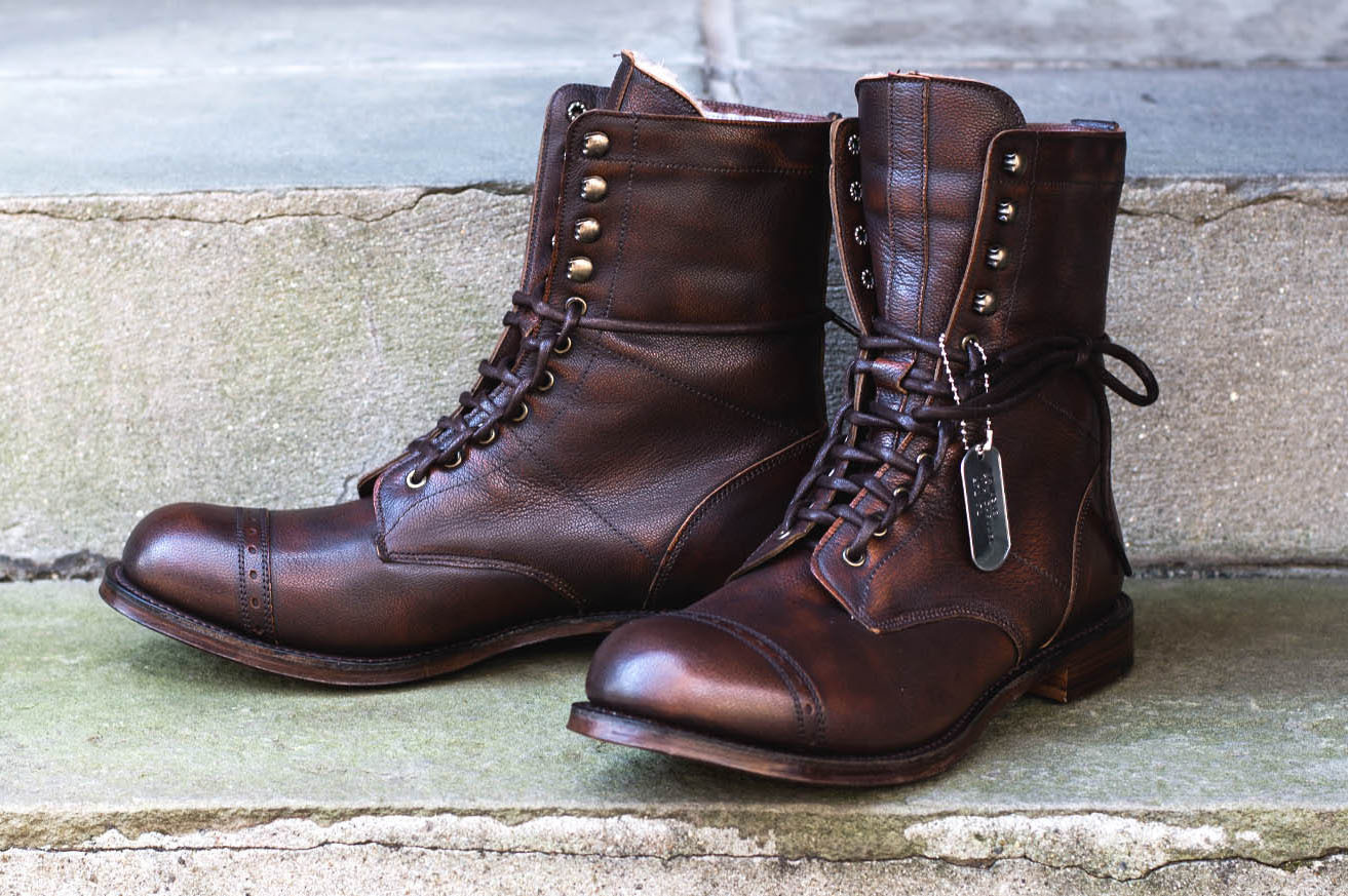 Brown Leather Boots Mens Lace Up