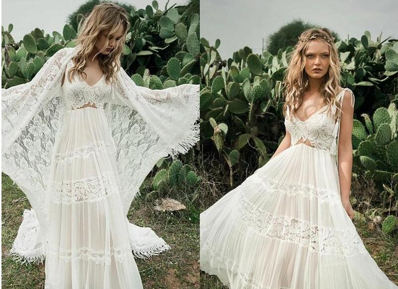 Bohemian Country Wedding Dresses With Long Lace Cape Wrap Spaghetti Backless Summer Holiday Beach Bridal Informal Wedding Gown Sold By Misszhu Bridal