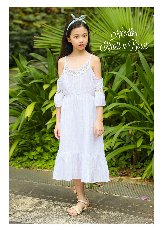 2f6eb9e012e6 ... Teen Girls Bohemian Style White Cold Shoulder Dress, Girls Off the  Shoulder Junior Bridesmaid, ...