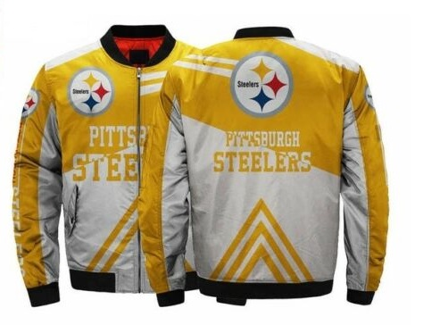 reputable site 57734 00d3a Pittsburgh Steelers NFL Team Men Bomber Jackets Coats