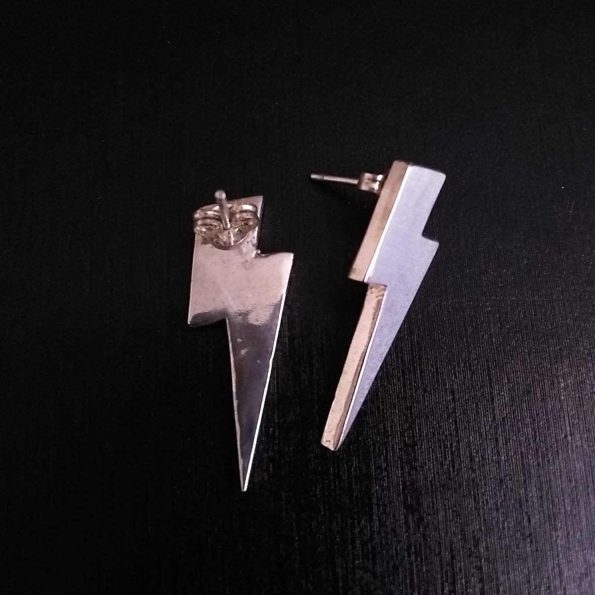 Sterling Silver Lightning Bolt Stud Earrings Lightning Studs 80s Earrings Chunky Stud Earrings Edgy Superhero Glam Rock Power Metal Carol Phillips Art Online Store Powered By Storenvy