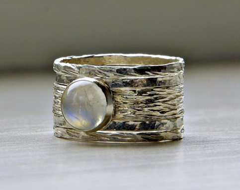 Simone Unique Rustic Stackable Moonstone Wedding Ring On
