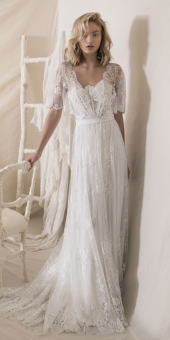 A Line Half Sleeves Lace Boho Wedding Dress With Train Beach Bridal Gowns 613 From Lovefashion