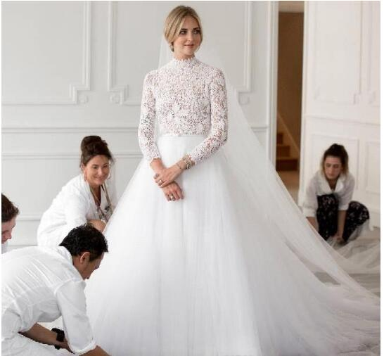 Lace Country Wedding Dresses A Line Plus Size Bridal Gowns High Neck Tulle  Skirt Elegant Long Sleeve Wedding Dresses from MissZhu Bridal