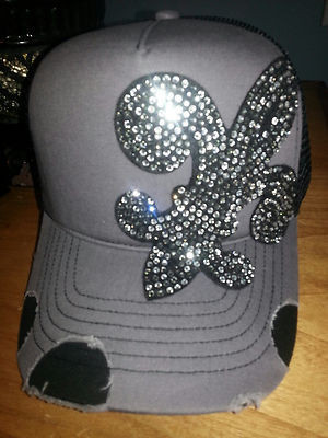 ef18c3cf62e6a Envy Black Fleur De Lis Rhinestone Destructed Trucker Hat on Storenvy