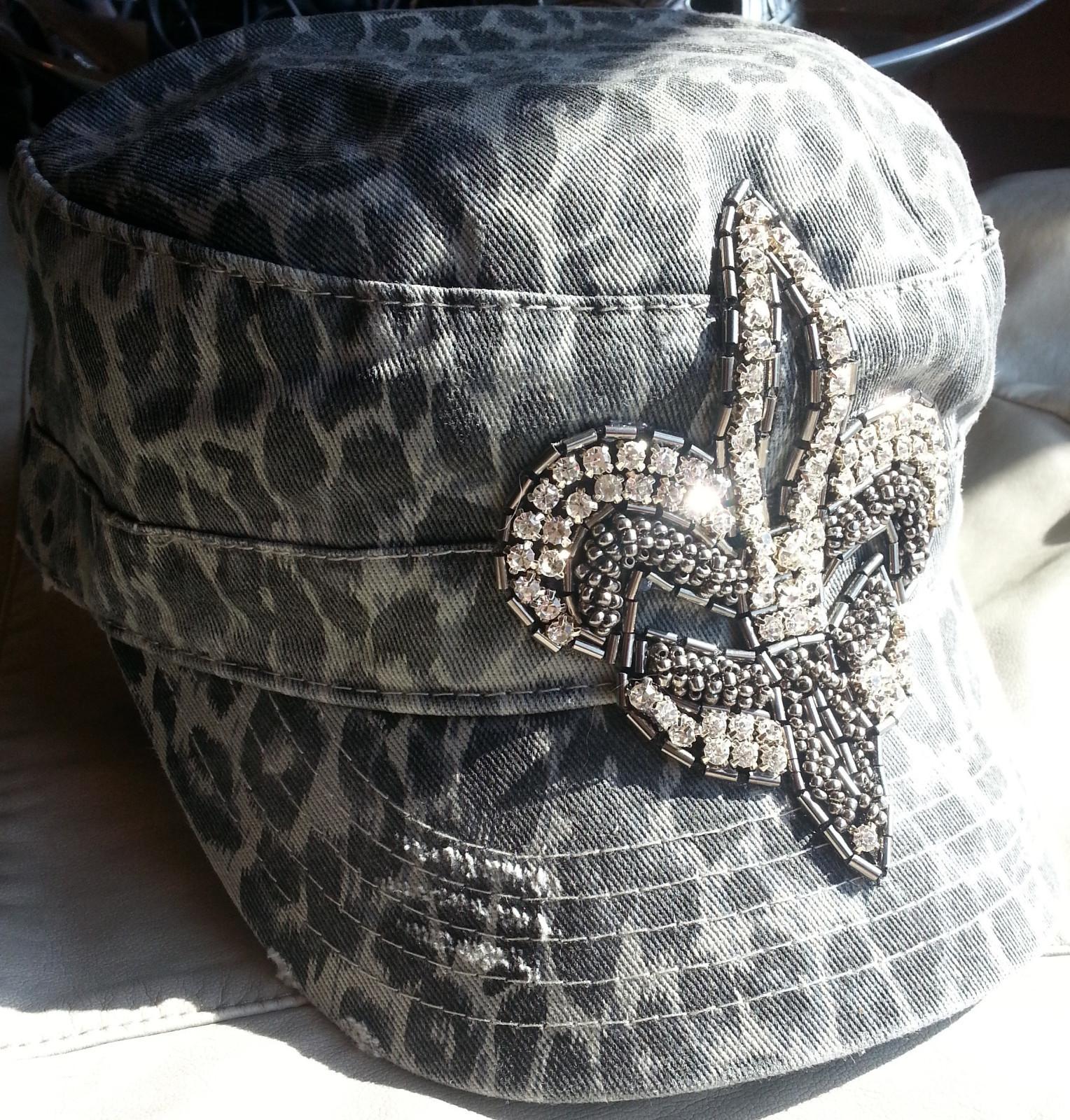 Envy Leopard Rhinestone Fleur De Lis Military Cadet Hat