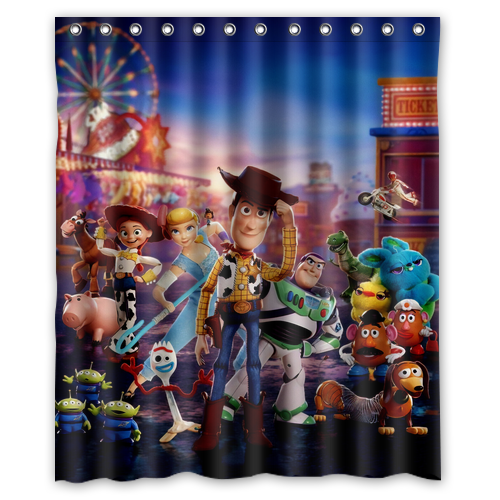 Toy Story Pixar Animation Movies Custom Print Waterproof Fabric Shower Curtain