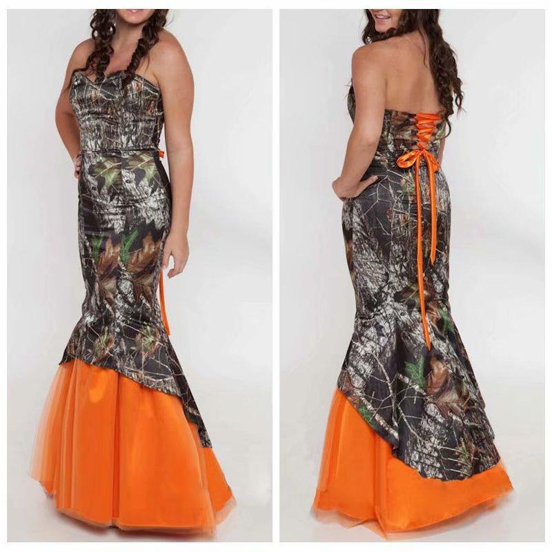 Plus Size Camo Wedding Dresses Mermaid Orange Tulle ...