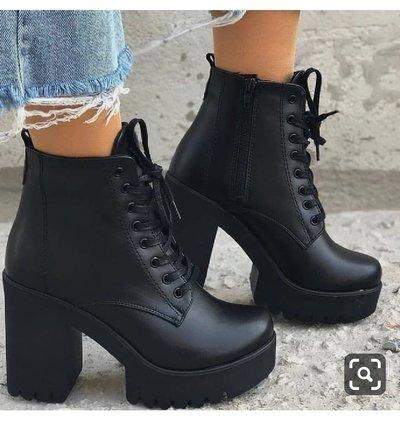 Winter Black New Martin Boots Women Plus Velvet Boots Thick Heel High Heel Women's Shoes Short Boots Hot F6752