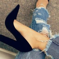 Black Pointed Women Shoes High Heels Party Wedding G9852 - Thumbnail 1