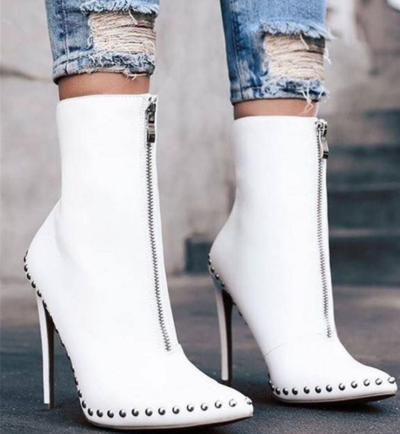 White Elegant Womens Boots Ankle Short Super High Solid Vintage Boots F8520