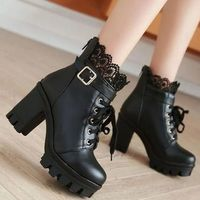 Ankle Boots Shoes Super Heeled Chunky Heel Lace Up Martin Boots F6852 - Thumbnail 1