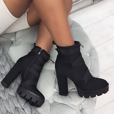 Black platform ankle boots hot booties g9520