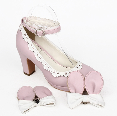 ladies cute bunny ear bow lolita high heels shoes · himi