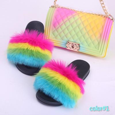 Fashion Fox Fur Slides Sandals for
