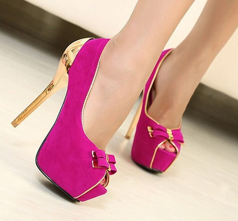 Fuschia Gold Bowtie Ladies Women Shoes Platform Pumps Sexy