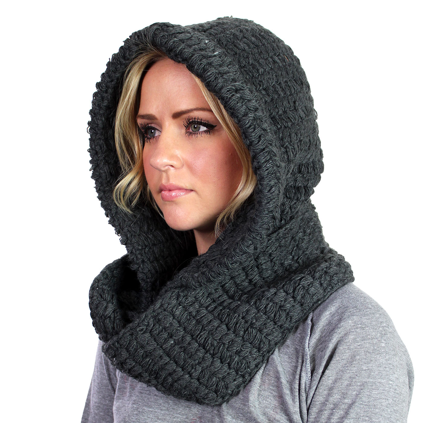 The Kikyo Hooded Scarf Charcoal On Storenvy
