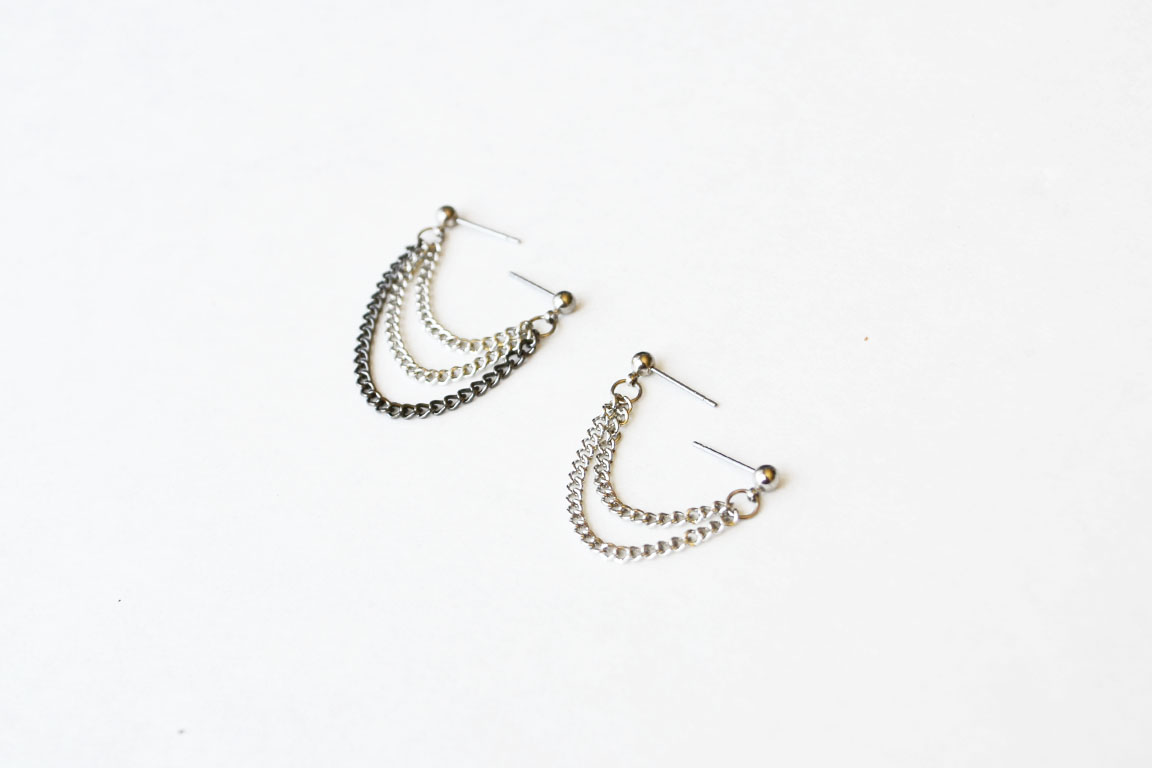silver and black chains cartilage lobe double pierce