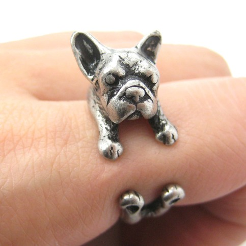 French Bulldog Puppy Animal Wrap Ring In Silver Sizes 4