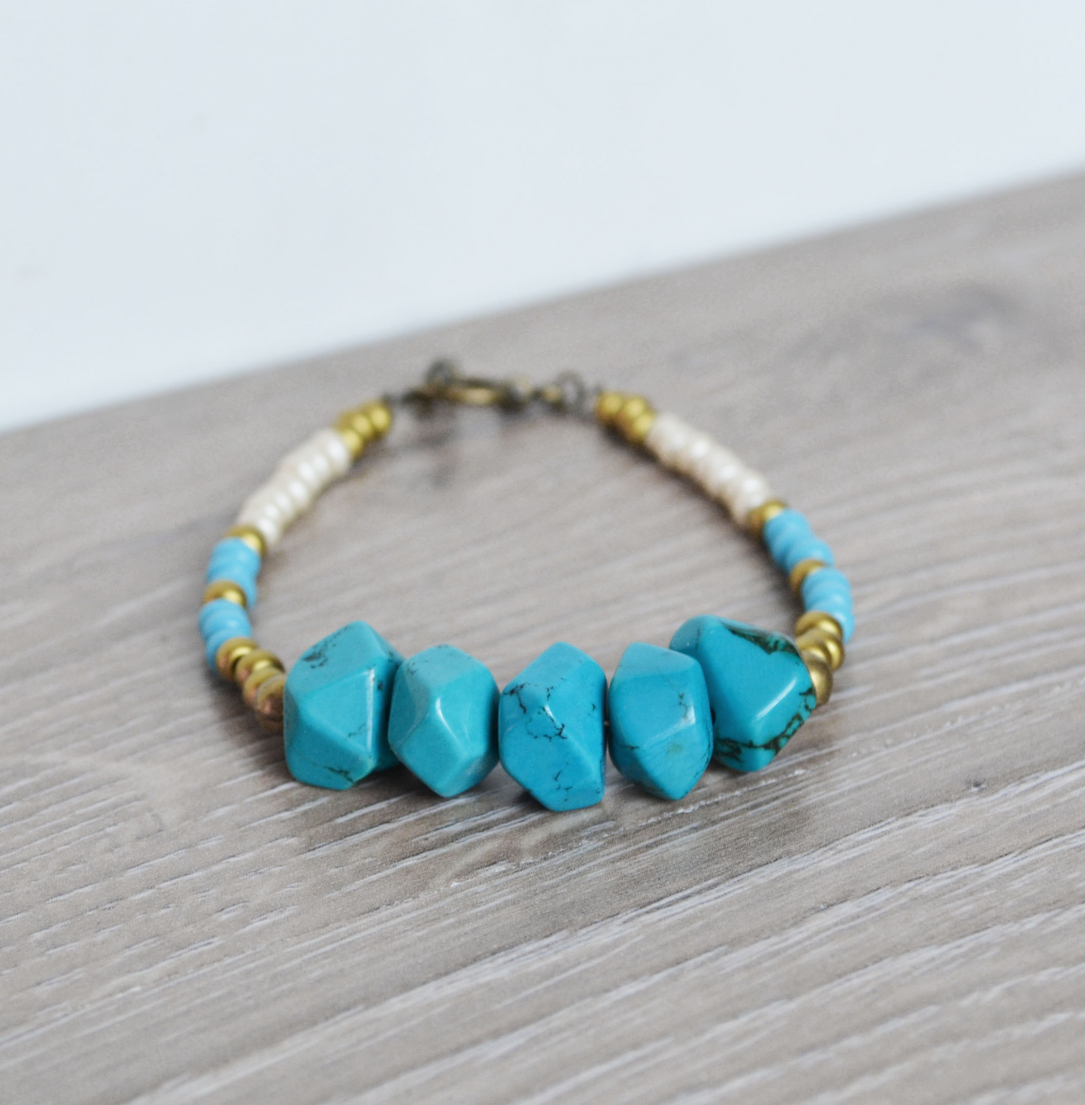 Tribal Bracelet, Turquoise Beaded Bracelet, Turquoise Jewelry, Gold and  Blue Beads from Fauna and Forest