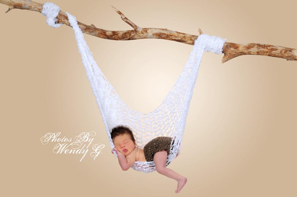 Crochet baby hammock photography prop thumbnail 2